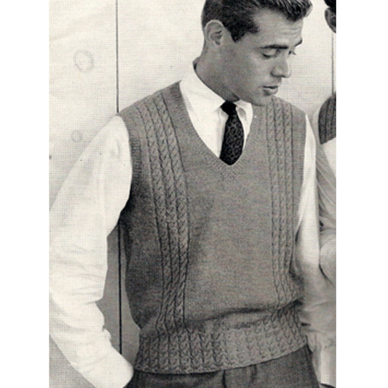 V-Neck Knit Sleeveless Pullover Knitting Pattern for Men