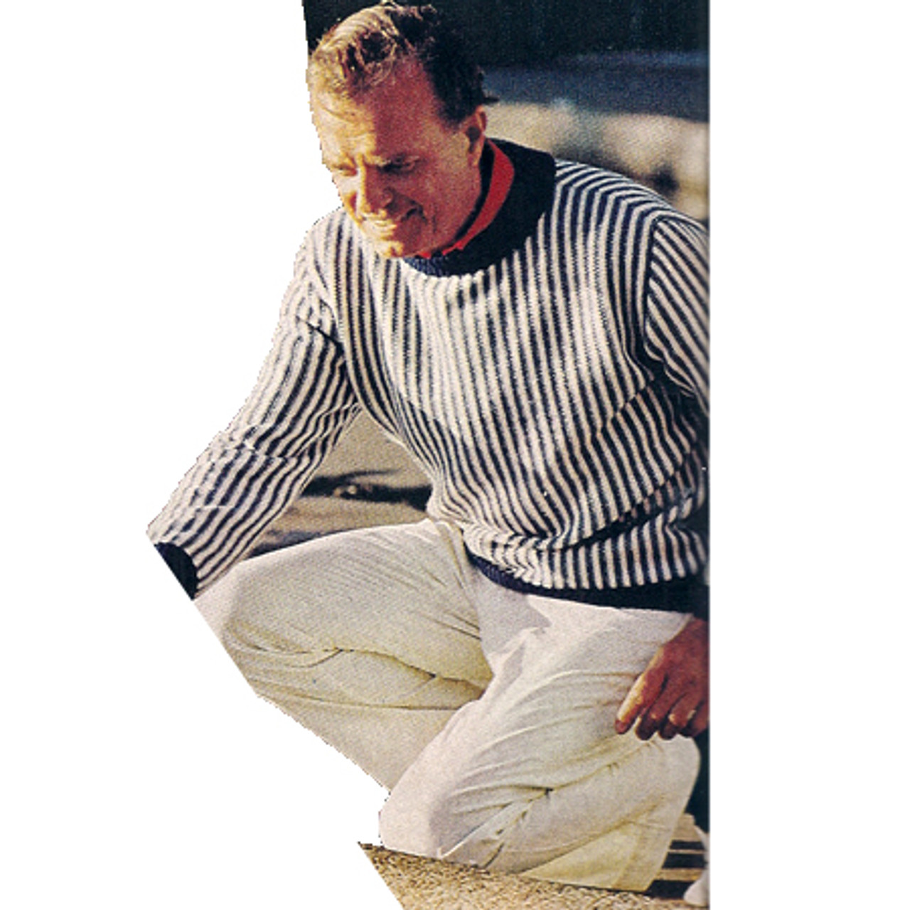 Mens Knitted Reverse Stripe Pullover Pattern