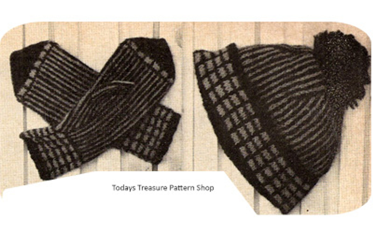 Knitting Pattern, Mans Norse Hat & Mittens