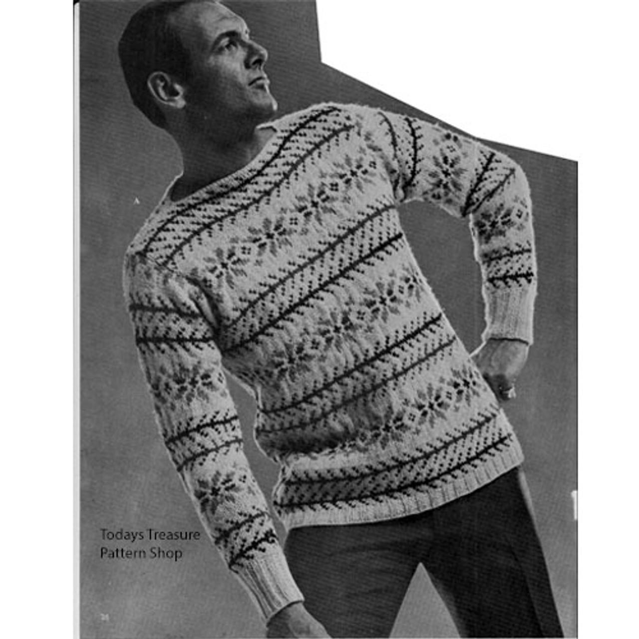 Mans knitted ski sweater pattern vintage 1960s