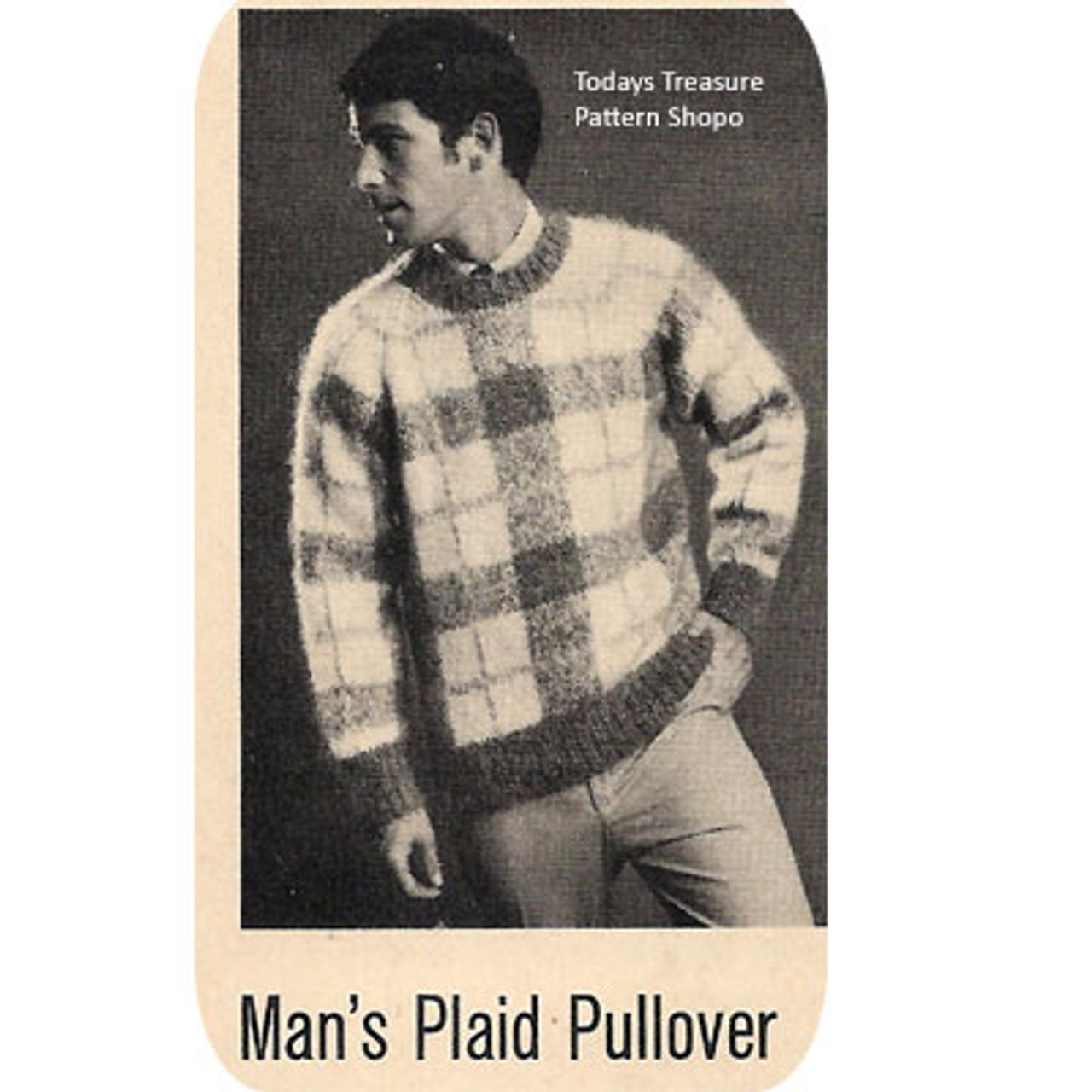 Vintage Plaid Pullover Knitting Pattern for Men