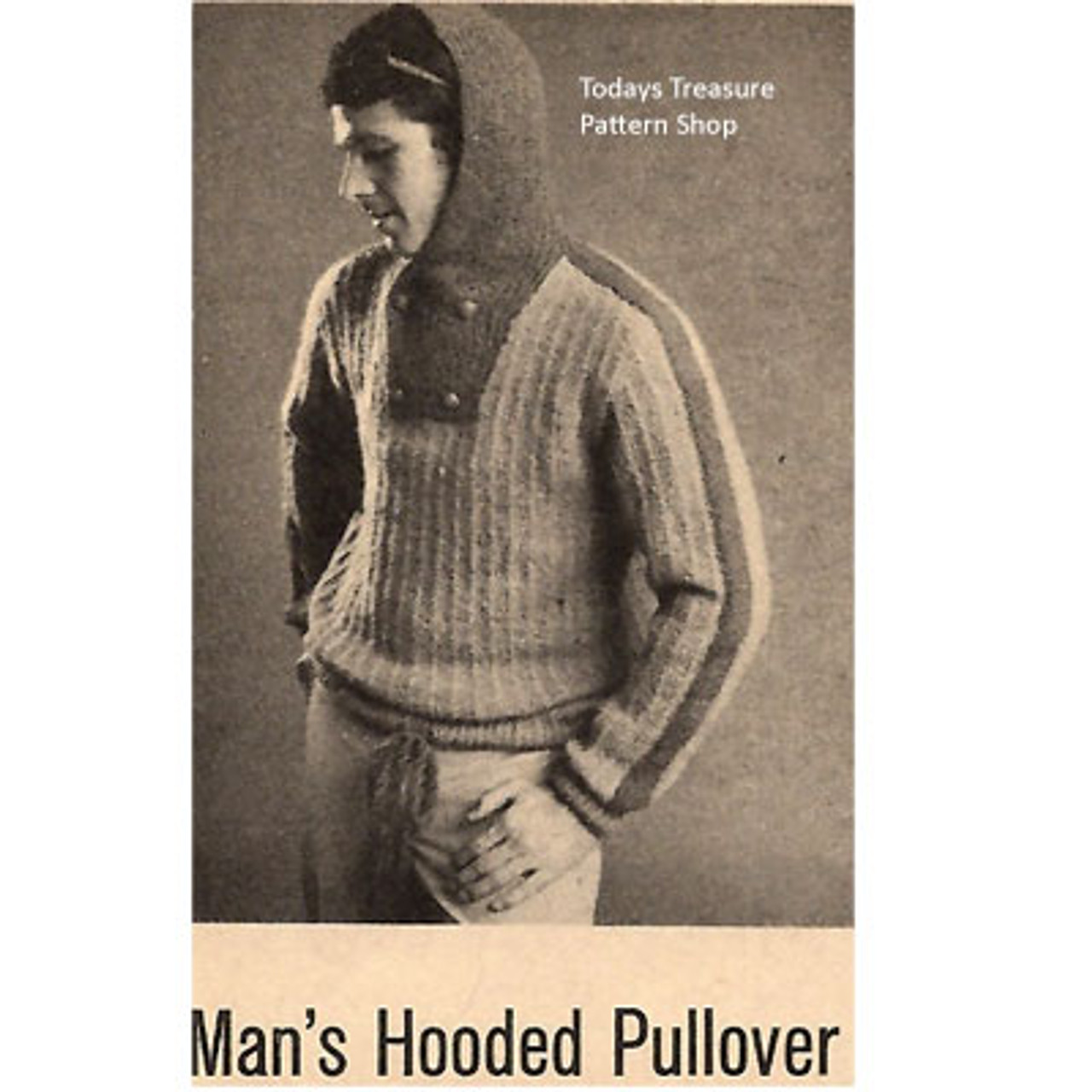 Mans Knitting Pattern for Hooded Pullover
