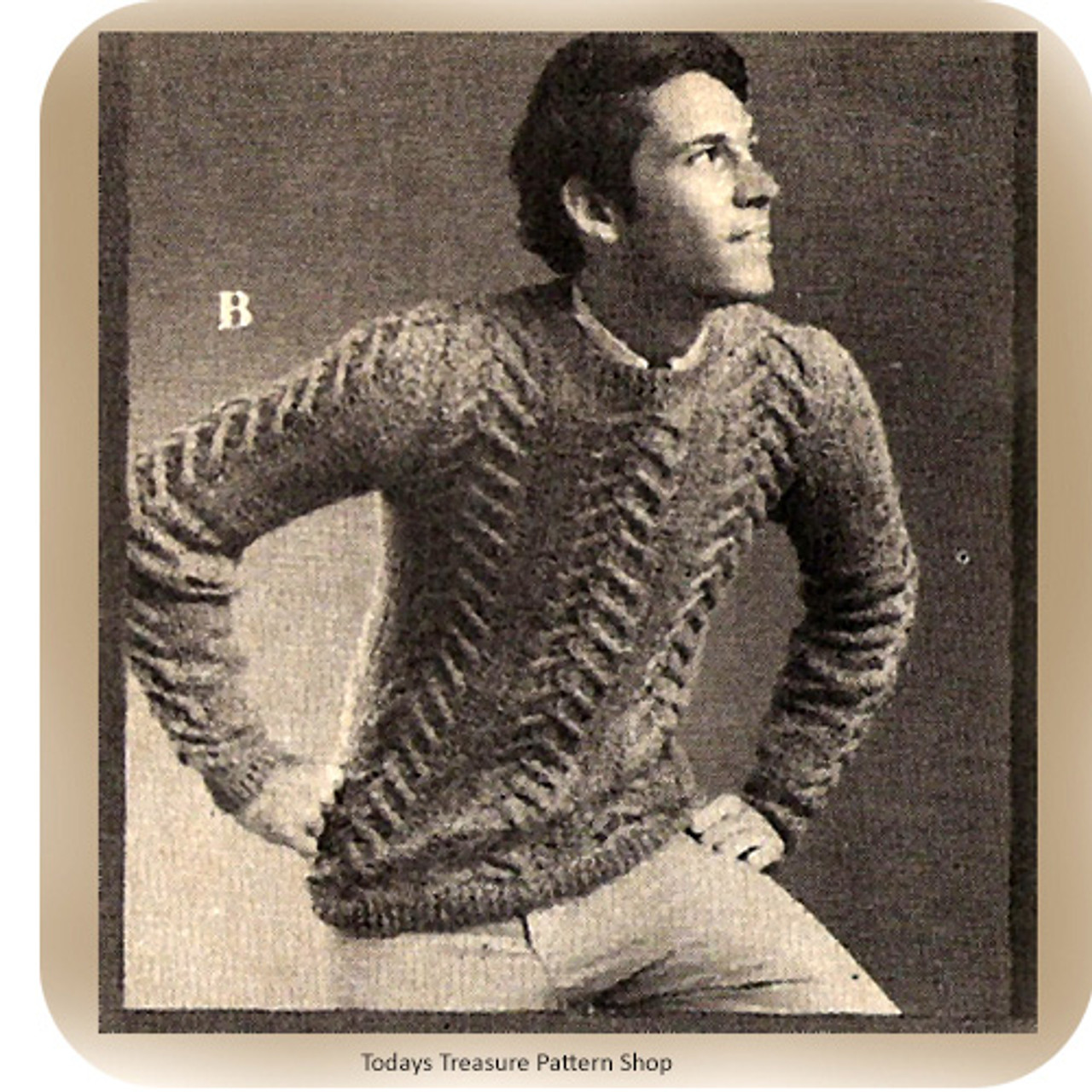 Knitting Pattern, Mans Cable Pullover Pattern Vintage 1960s