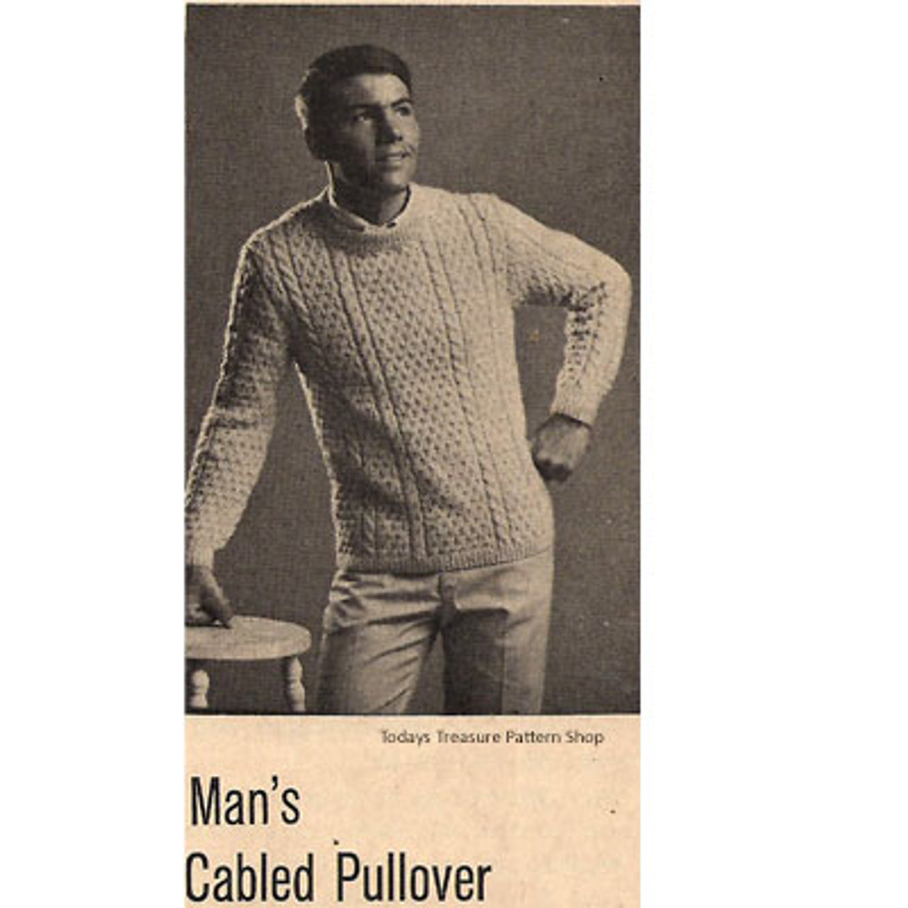 Mans Cabled Vintage Pullover Knitting Pattern