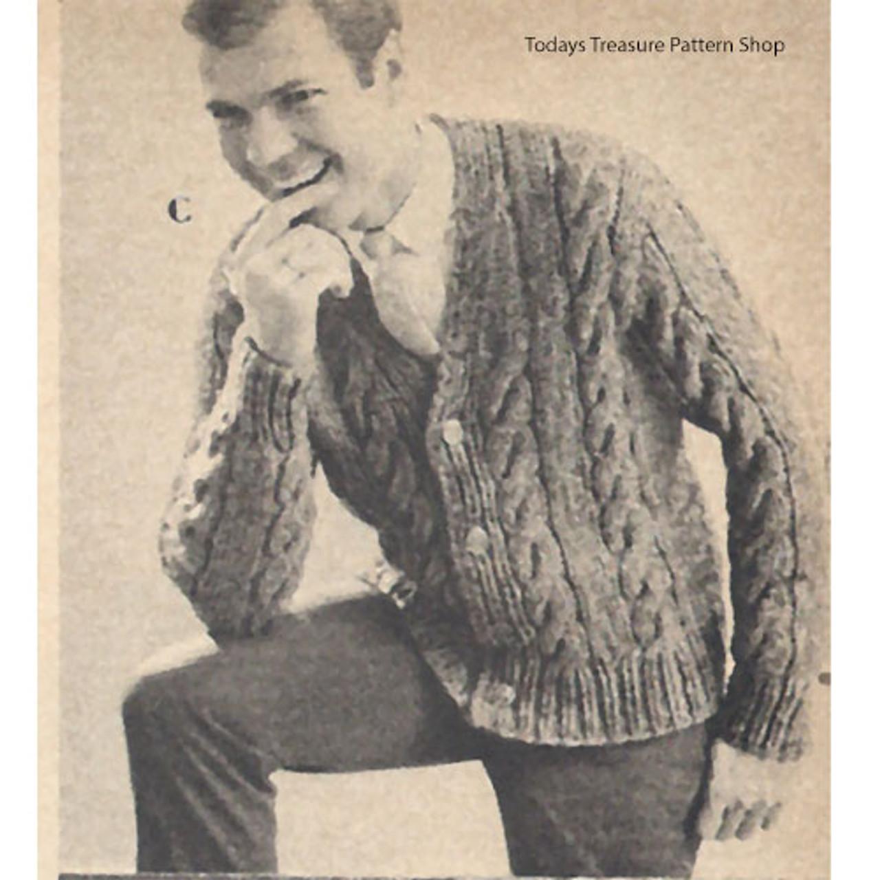 Mans Vintage Cable Paneled Cardigan Knitting Pattern