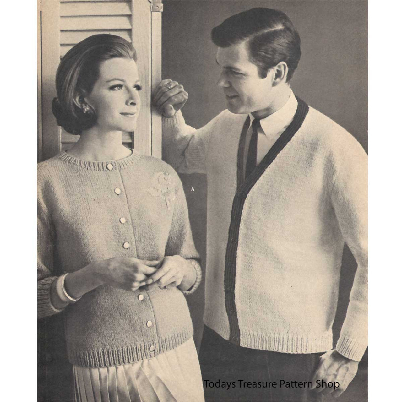 His & Hers Vintage Knitted Cardigans Pattern