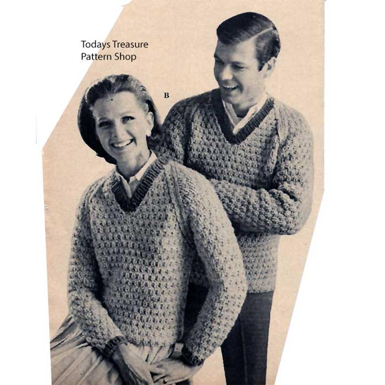 Vintage Knitting Pattern, Matching V-Neck Sweaters