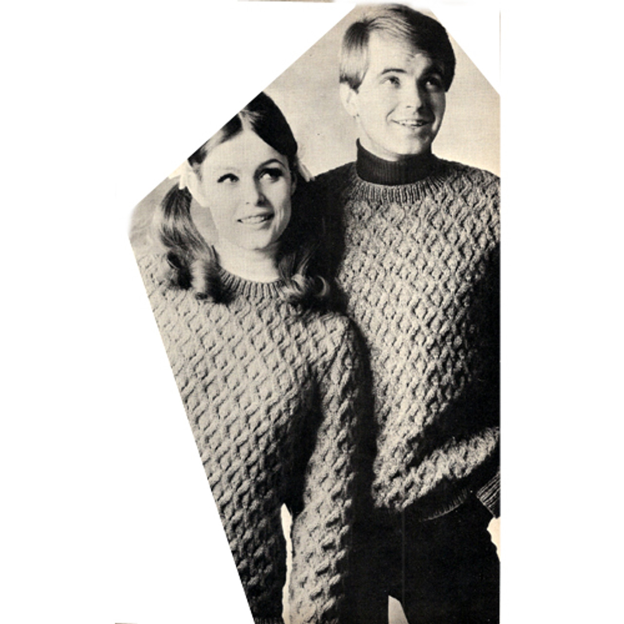 Honeycomb Patterned Pullovers Knitting Pattern, Mens Womens