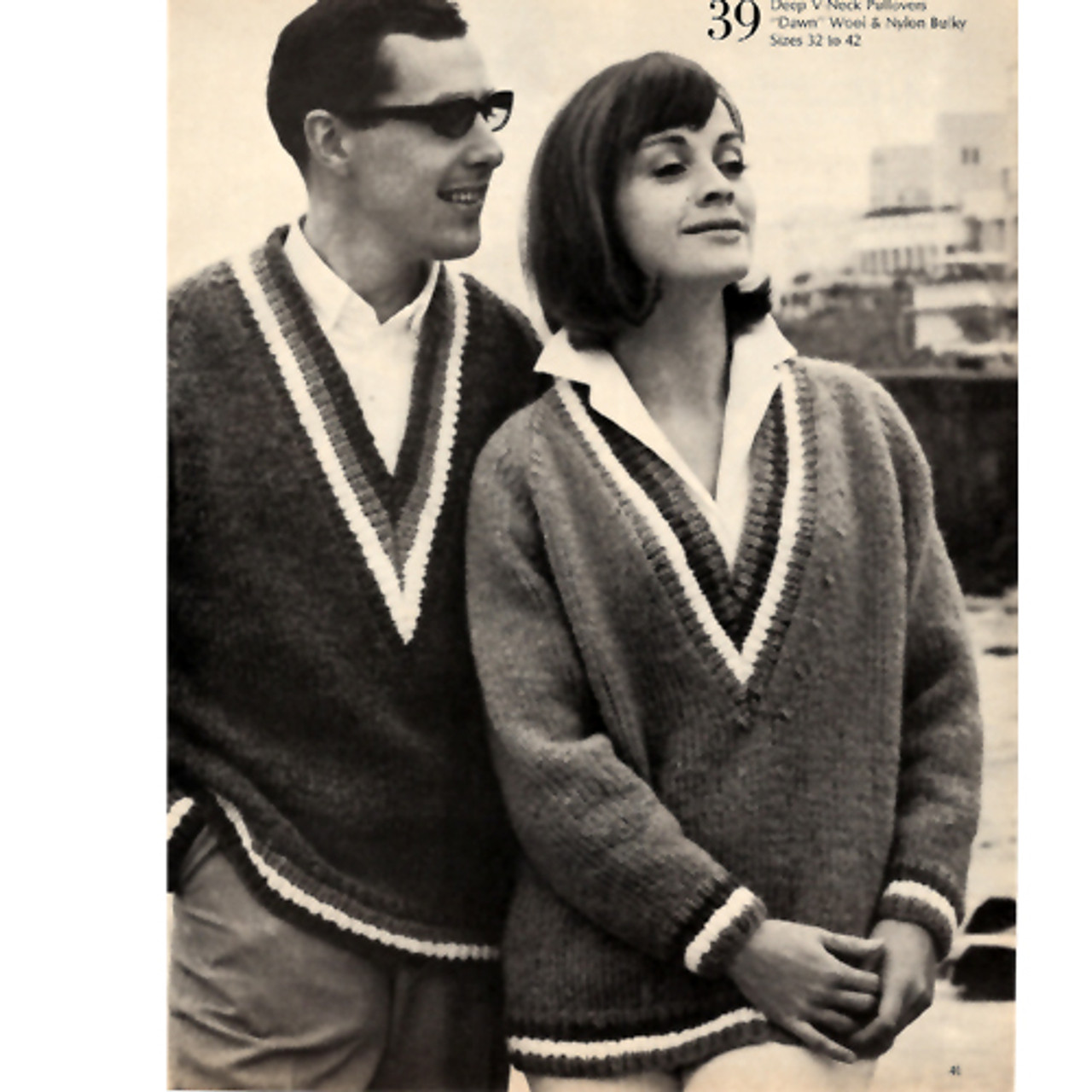 His Hers Knitted V-Neck Sweaters with Color Bands
