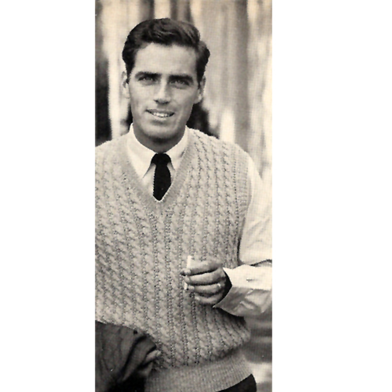 Mens Knitted Pullover Cable Vest Pattern, Vintage 1950s