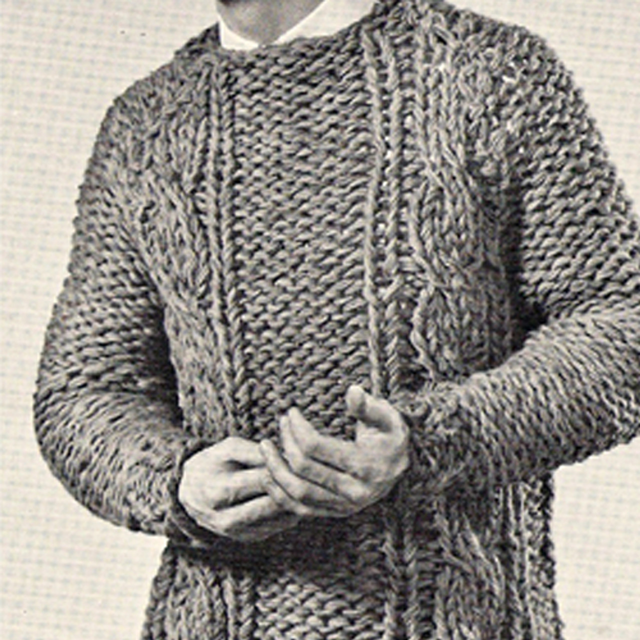 Mans Cable Pullover Pattern Knit on Big Needles