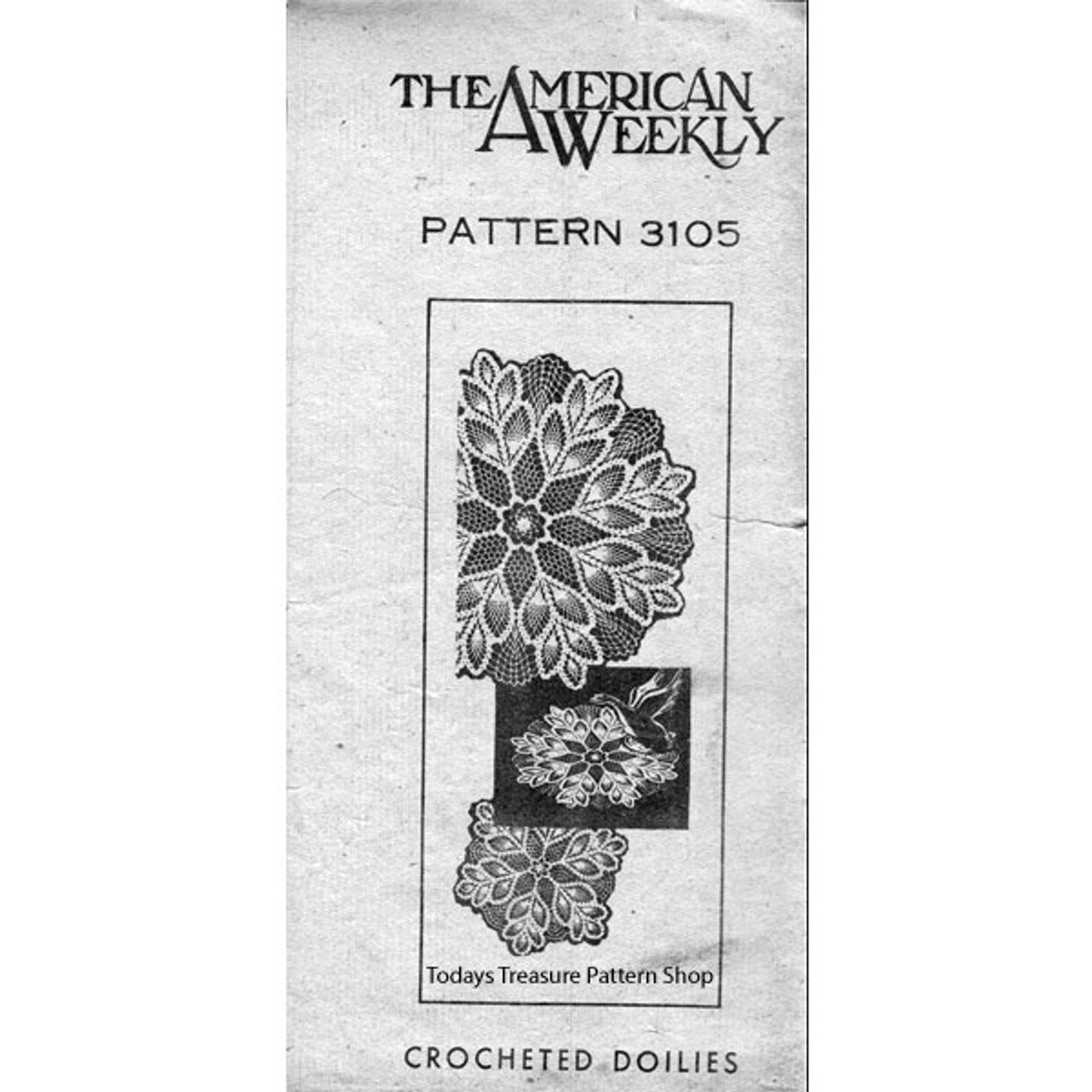American Weekly 3105, Pineapple Doily Crochet pattern