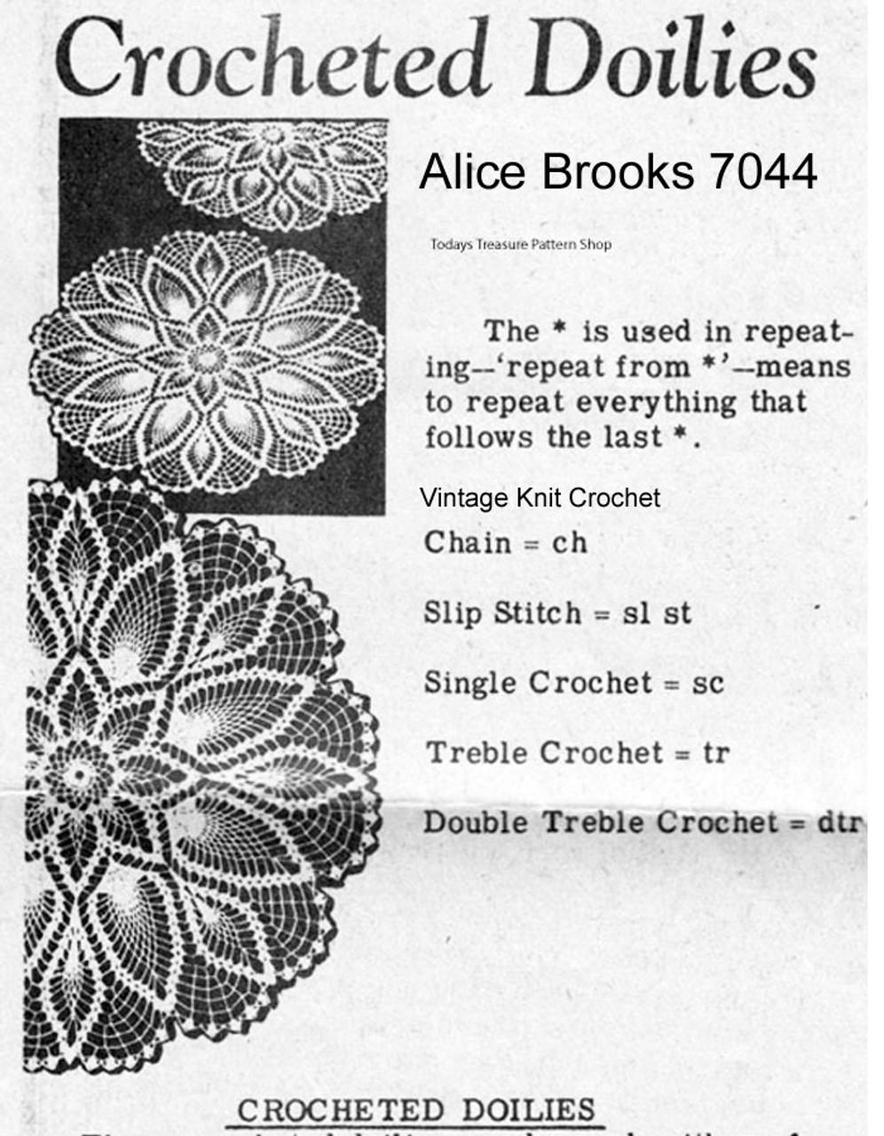 Vintage Crochet Pineapple Doily Pattern, Alice Brooks 7044