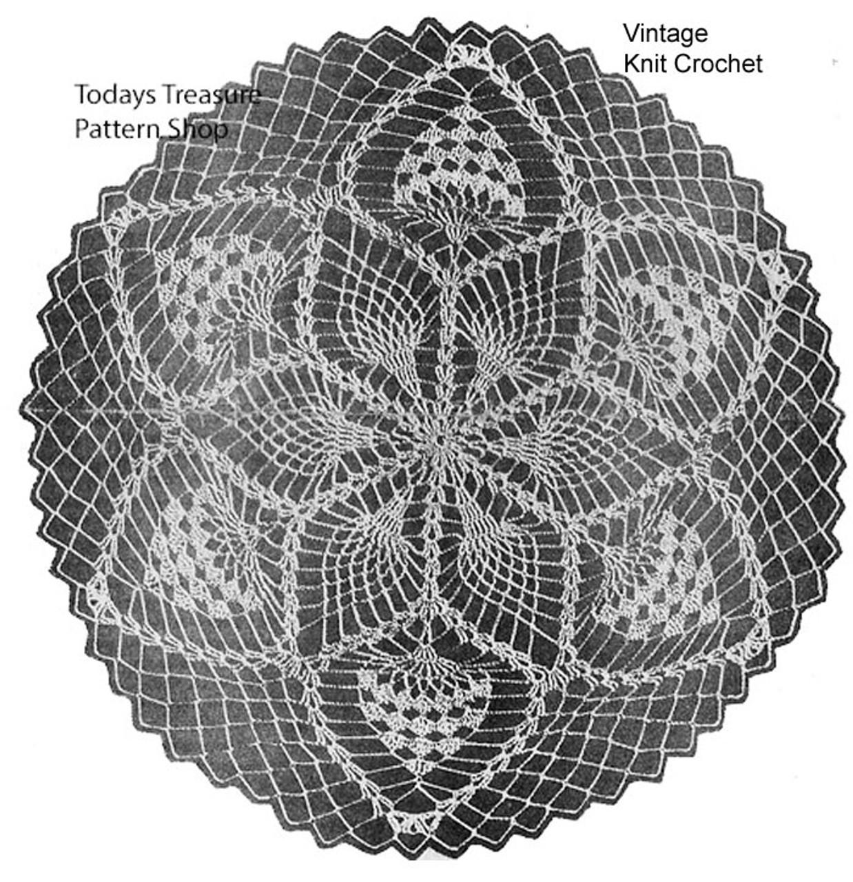Pineapple Doily Crochet Pattern Illustration, Mail Order 7080