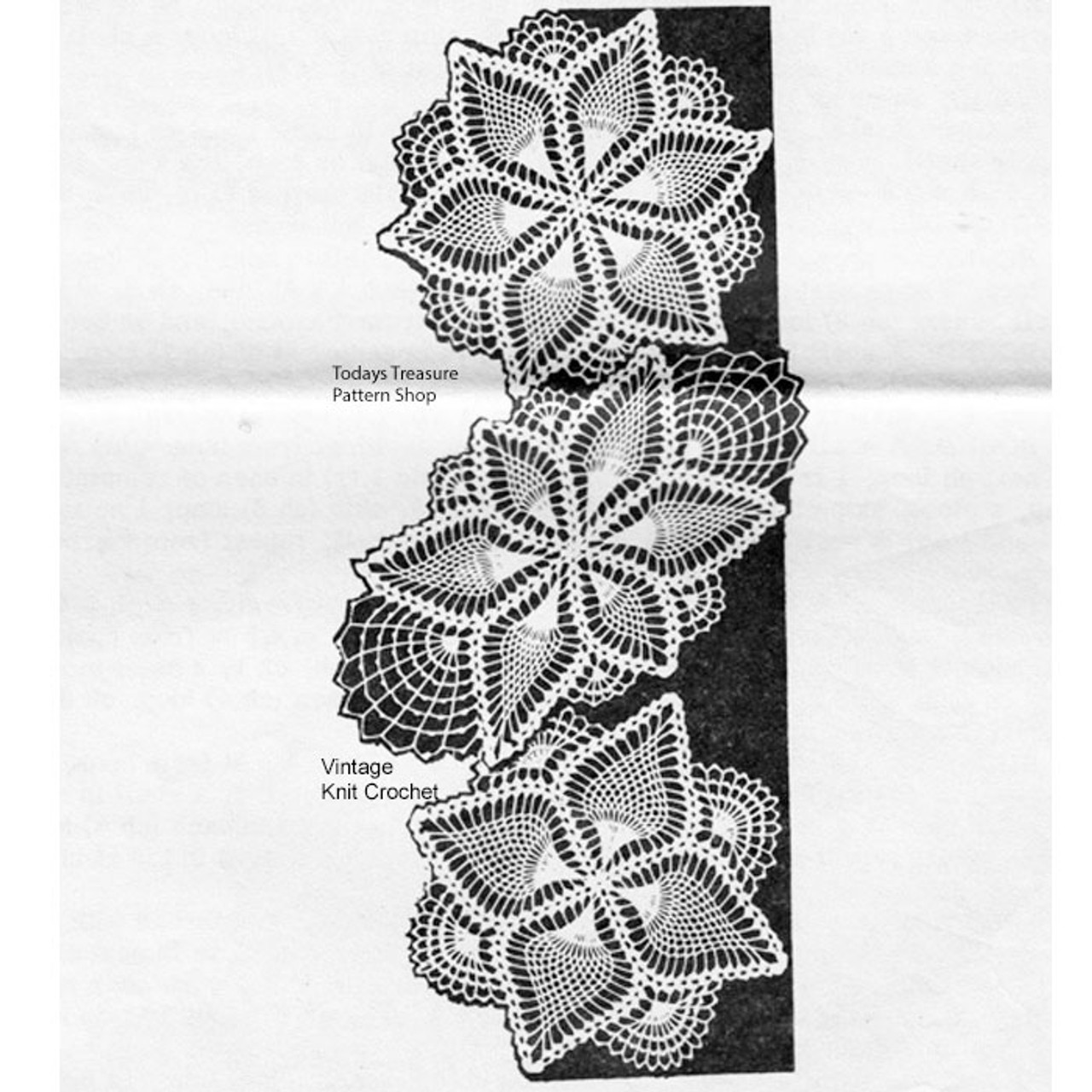 Alice Brooks Crochet Doilies Pattern, round oval square