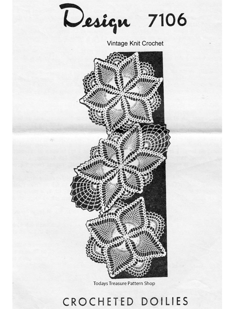 Small Crocheted Pineapple Doilies Pattern Design 7106