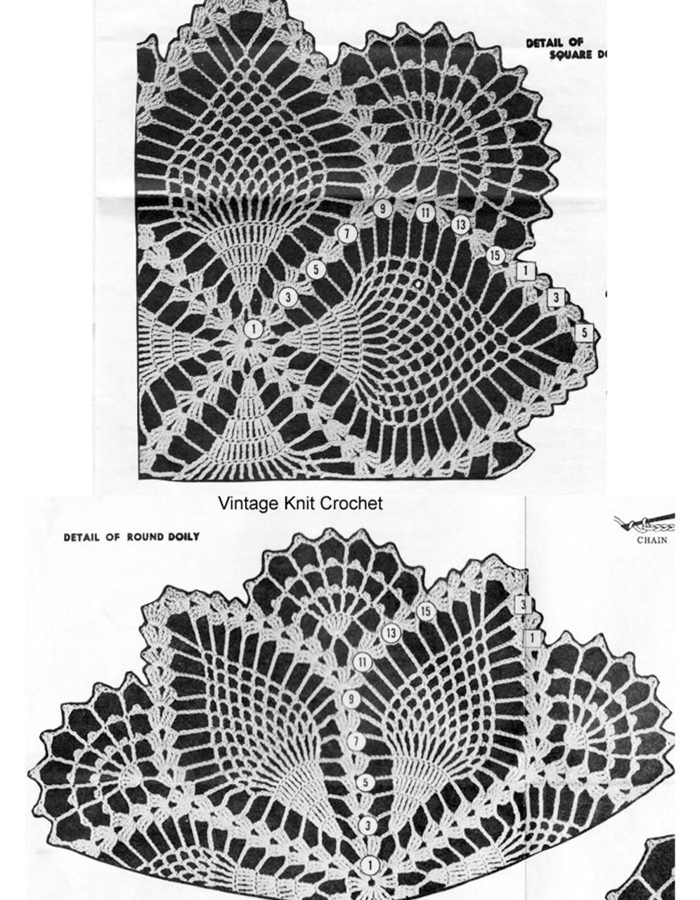 Square Pineapple Doily Pattern Stitch Illustration No 7106