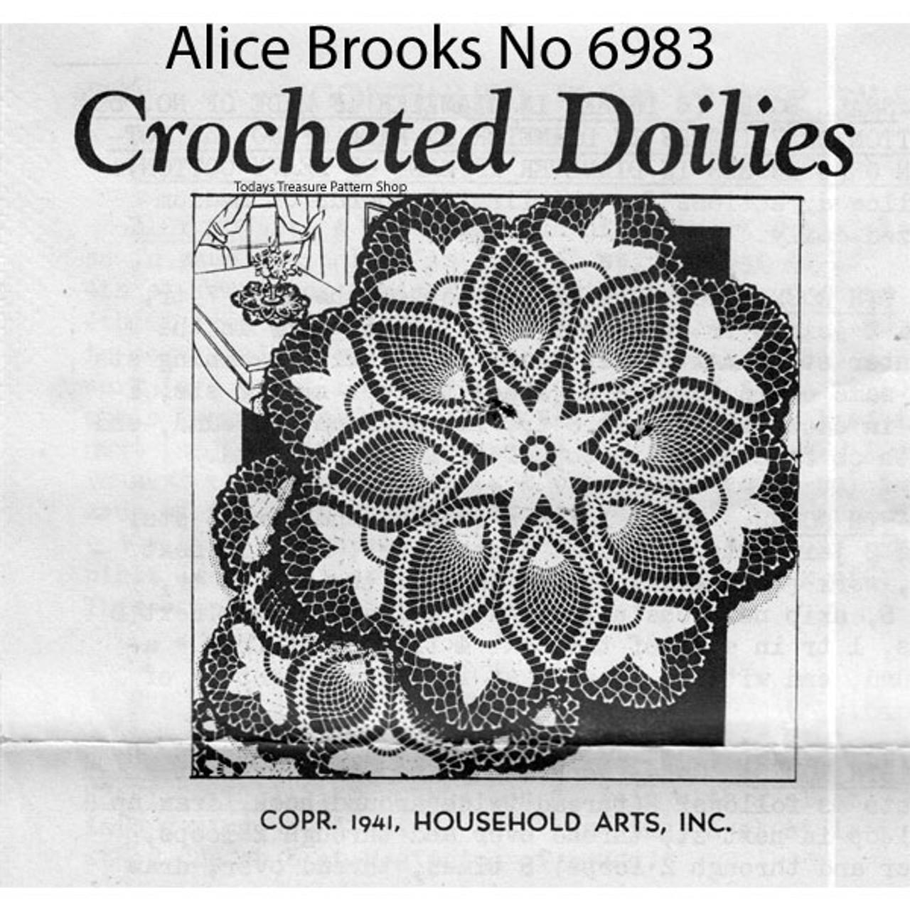 Alice Brooks 6983, Crocheted Tulips Doily Pattern