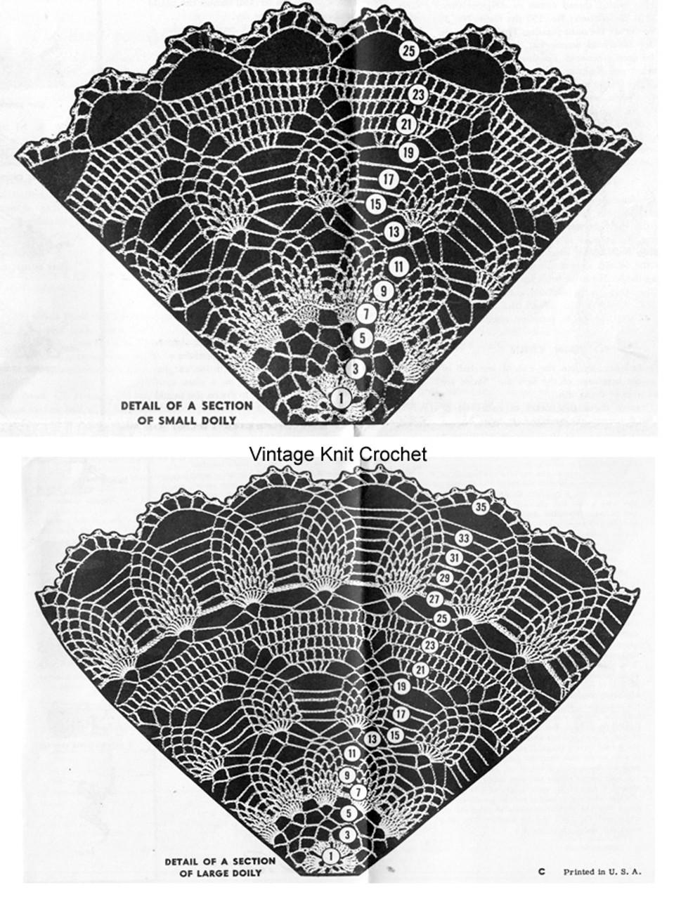Pineapple Doilies Pattern Stitch Detail, Alice Brooks 7033