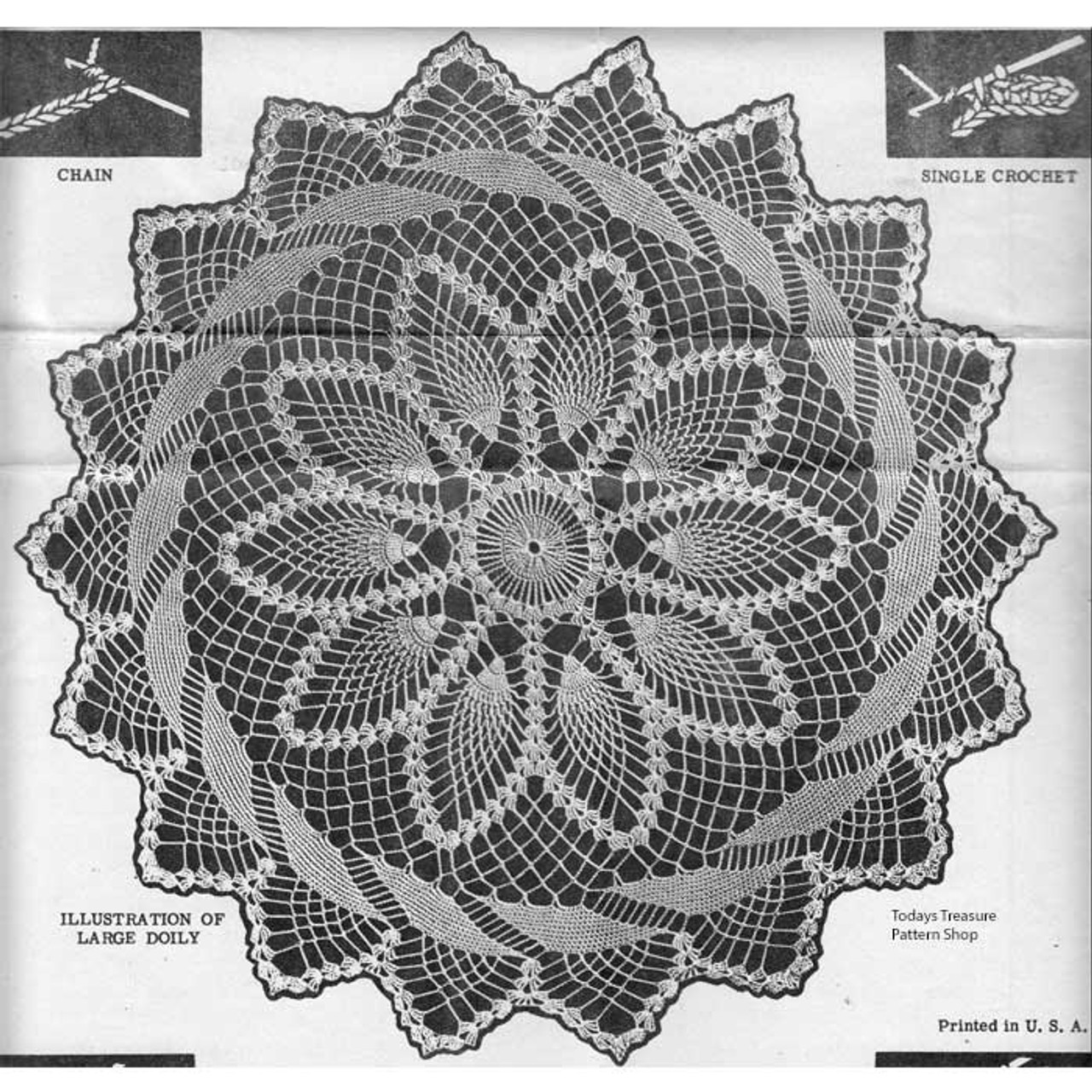 Crochet Pineapple Flower Doily pattern with ring border