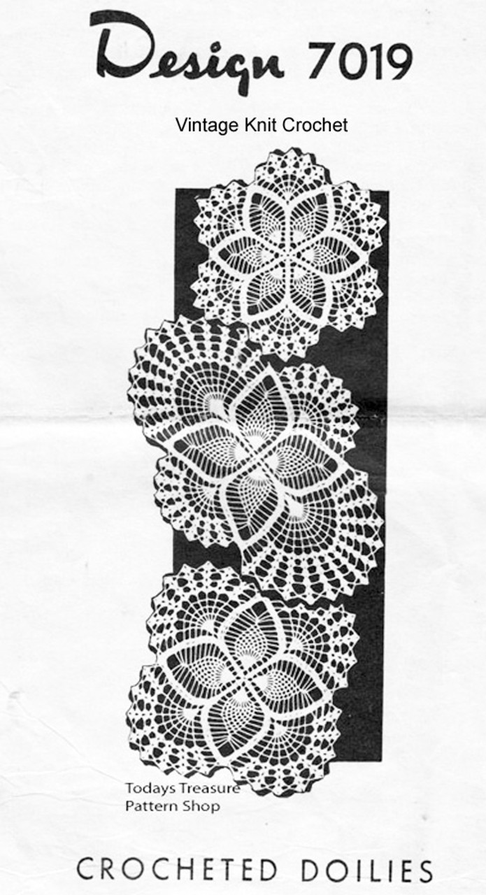 Crochet Doilies Pattern, Oval Round Square, Mail Order 7019