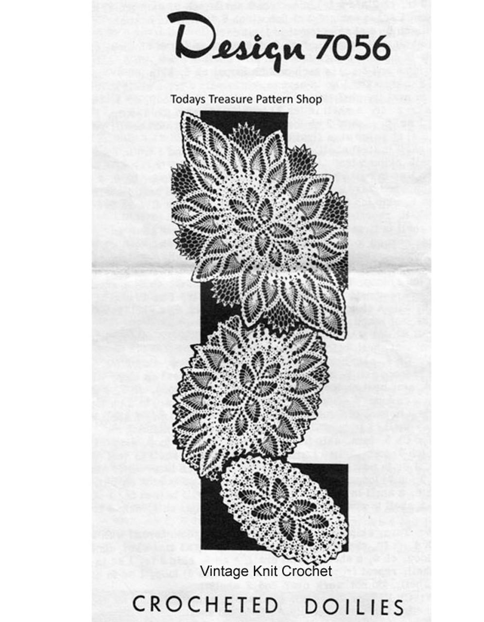 Oval Crochet pineapple doilies pattern Design 7056