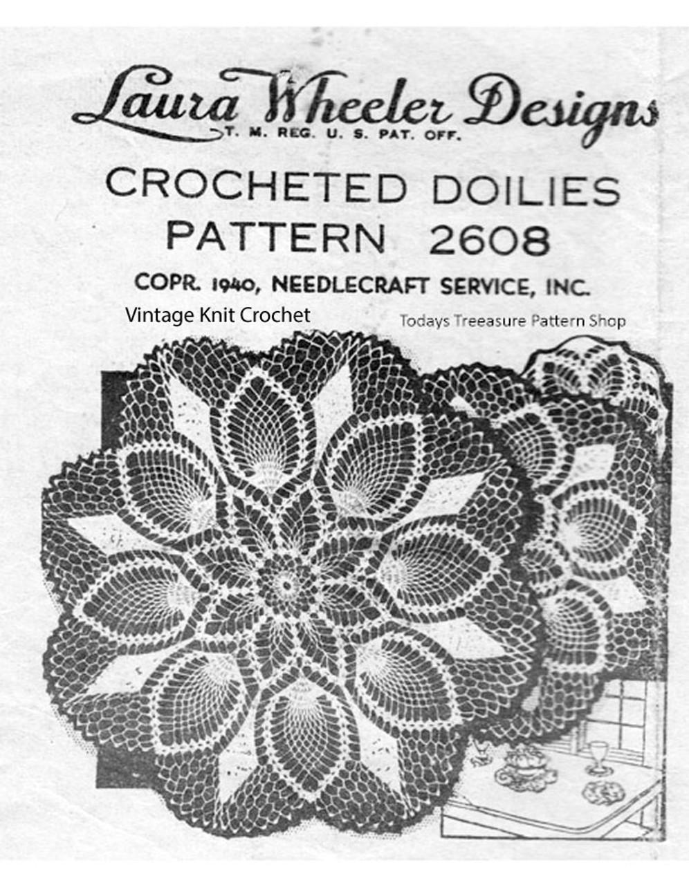 Pineapple Crochet Doily, Three Sizes, laura wheeler 2608
