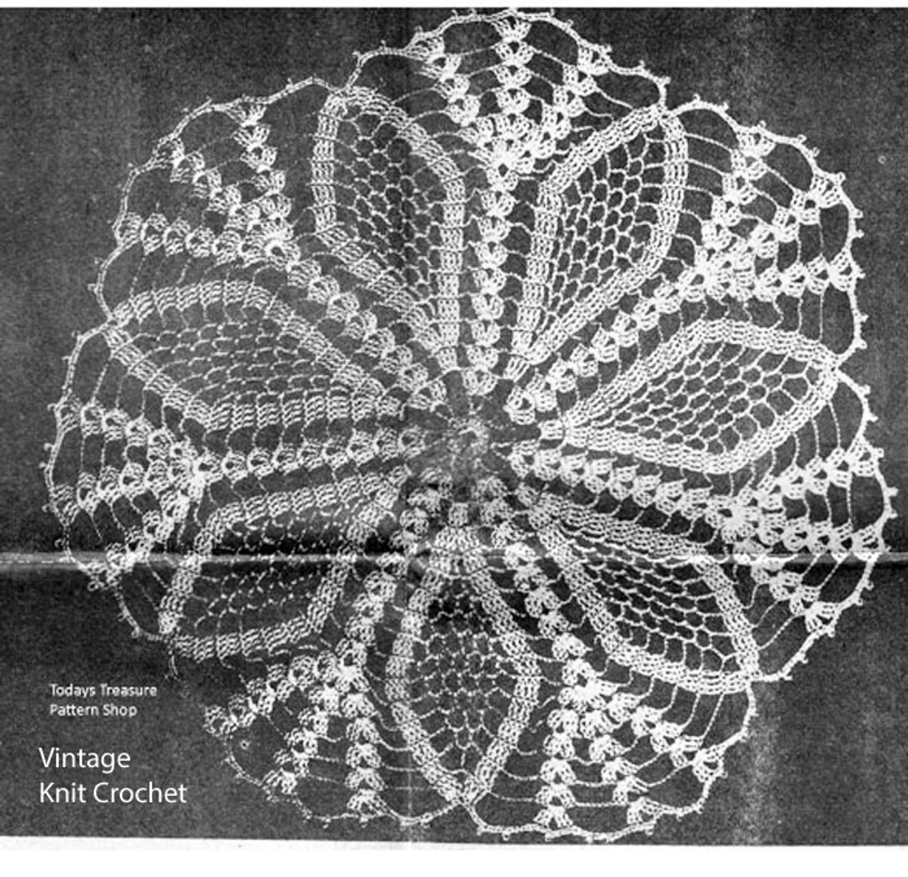 Vintage Pineapple Crocheted Doily Pattern No 1152