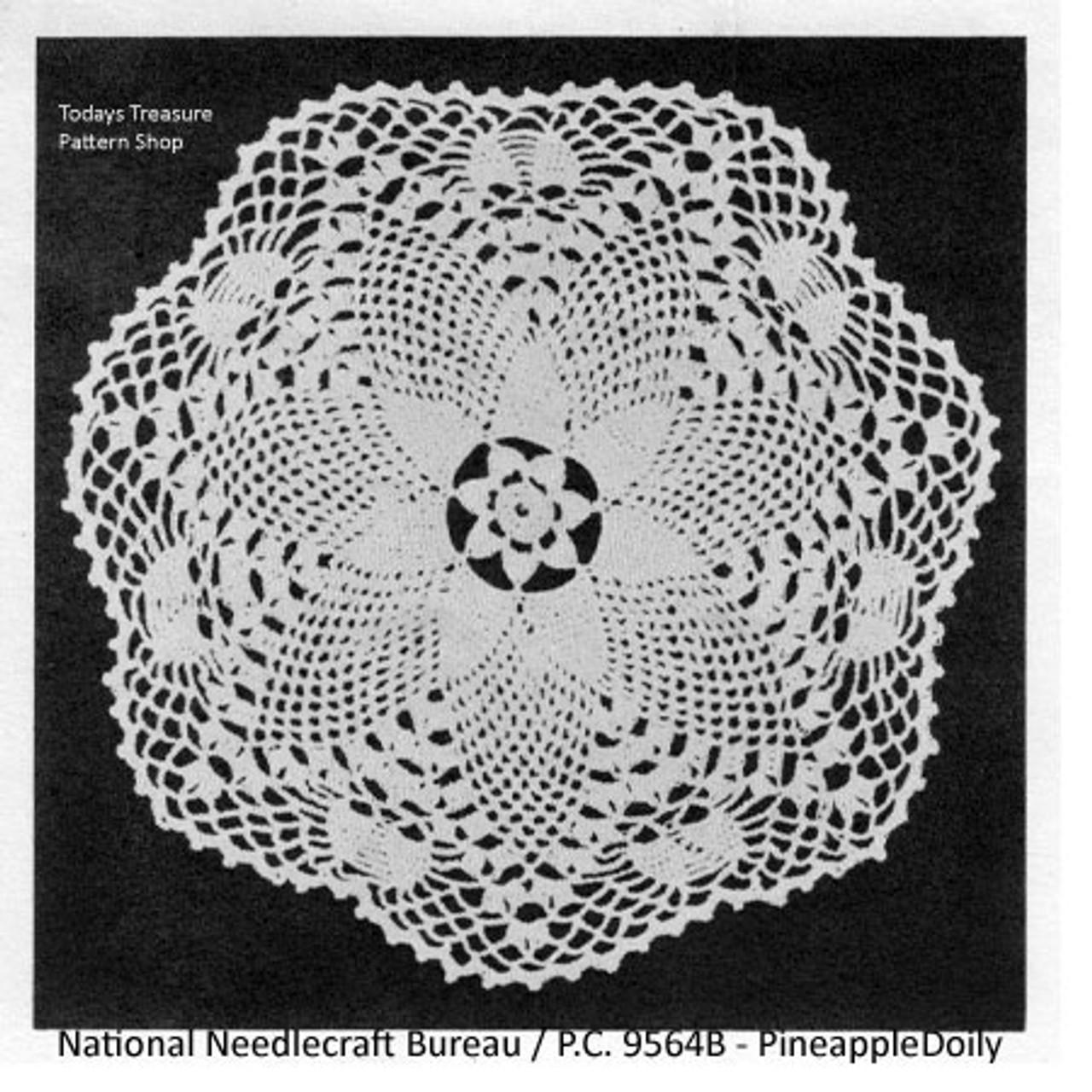 Pineapple Crochet Doily Pattern Leaflet from National Needlecraft
