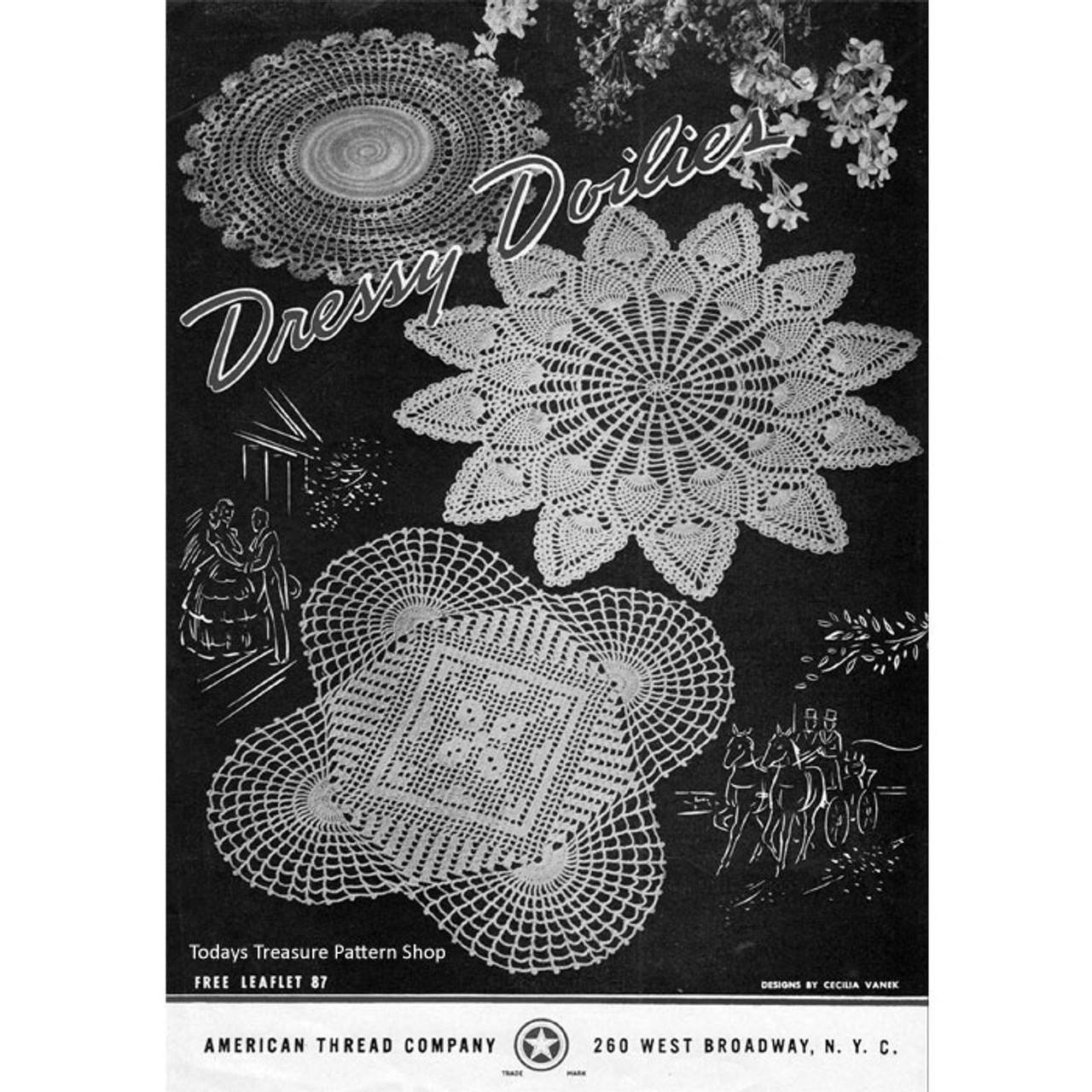 American Thread Dressy Doilies Crochet Pattern Leaflet