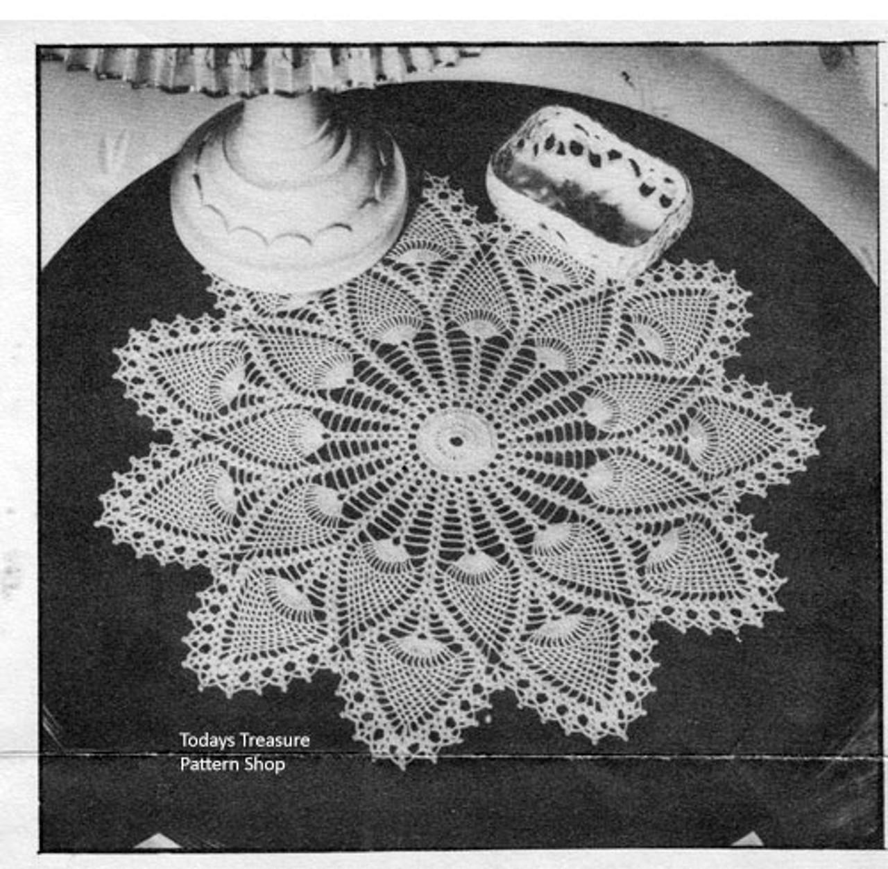 Vintage Pineapple Wheel Crocheted Doily Pattern No 7275