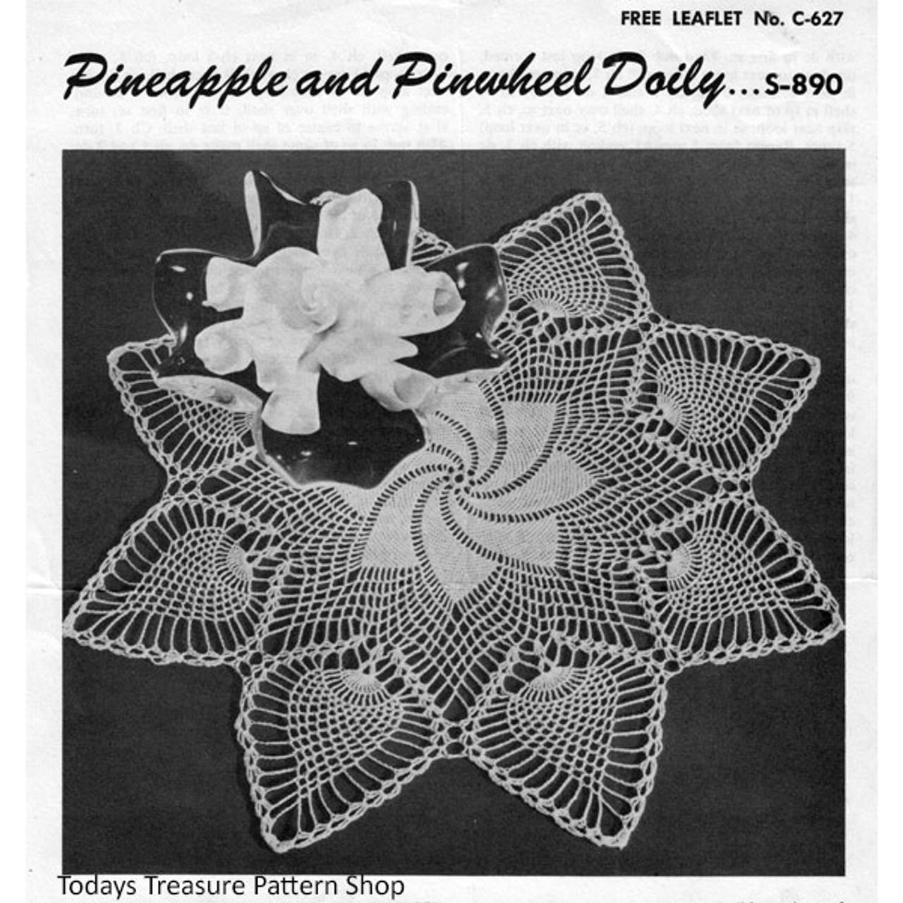 Vintage Crochet Pinwheel Doily Pattern with Pineapple Border