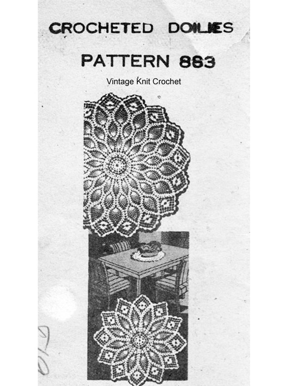 Crochet Centerpiece Doily Pattern, Mail Order Design 883