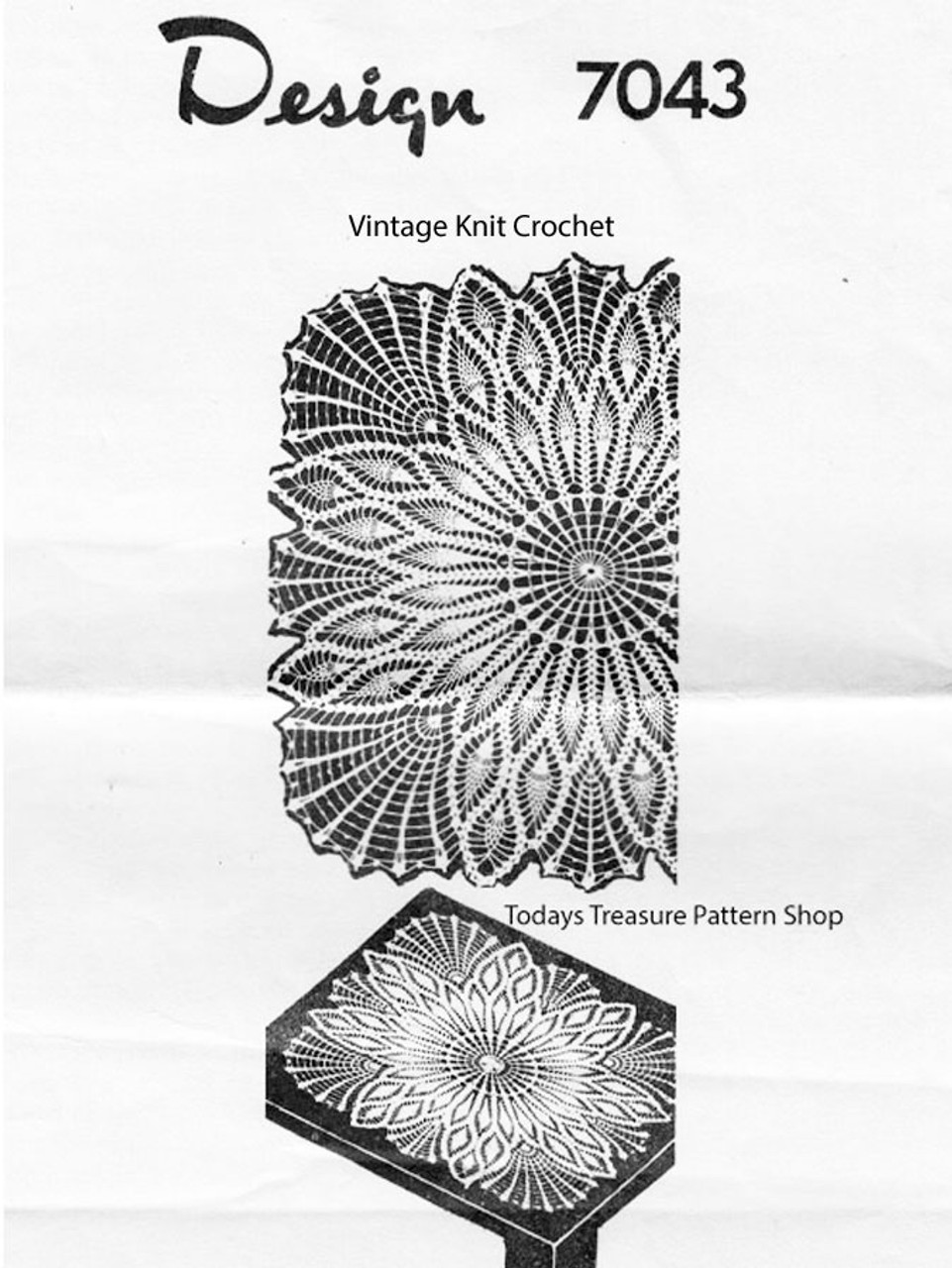 Crochet Pineapple Centerpiece Doily Pattern, Design 7043