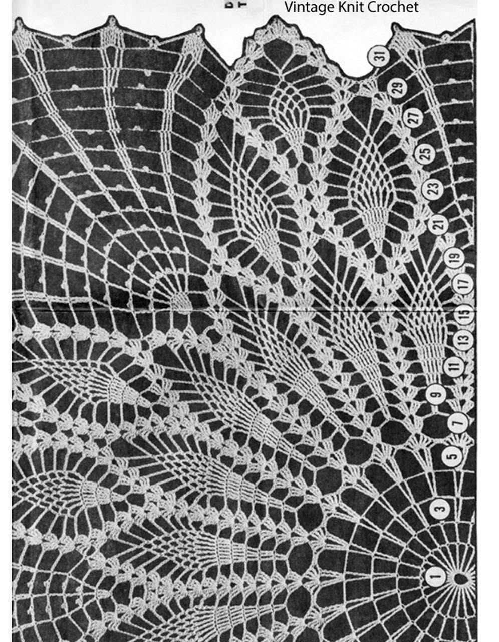 Pineapple Centerpiece Doily Pattern Illustration, Mail Order 7043