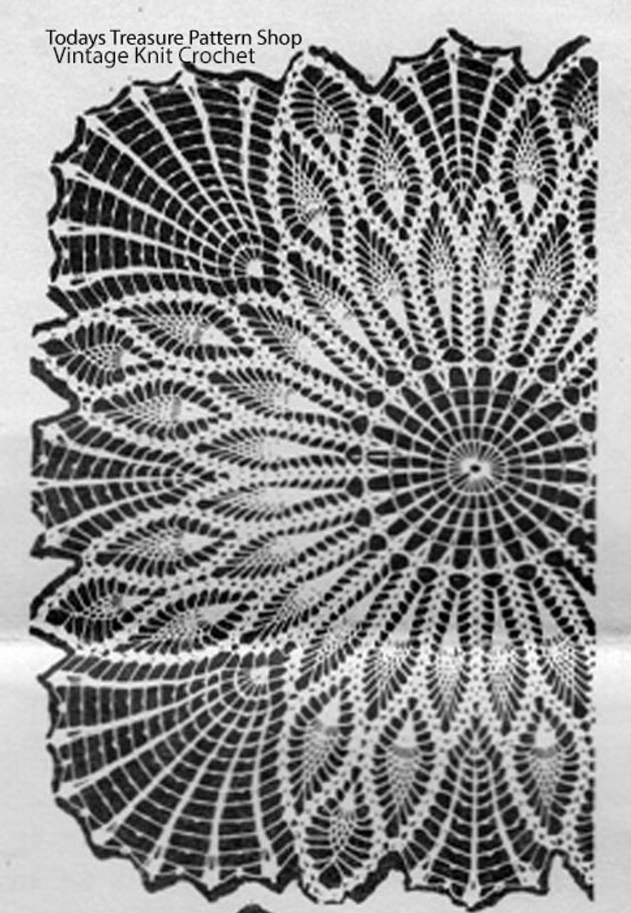 Square centerpiece doily pattern, pineapple stitch, Alice Brooks 7043