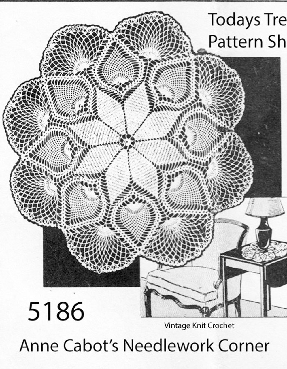 Large Pineapple Crochet Doily Pattern, Anne Cabot 5186