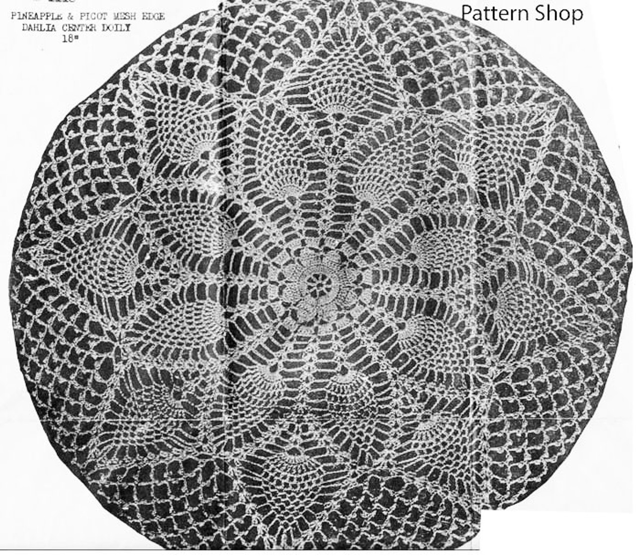 Dahlia Doily Crochet Pattern Illustration Design 1118