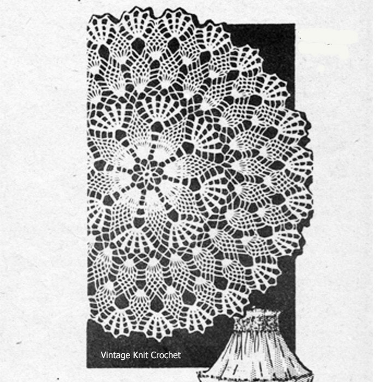 Centerpiece Pineapple Crochet doily Pattern, American Weekly 3136