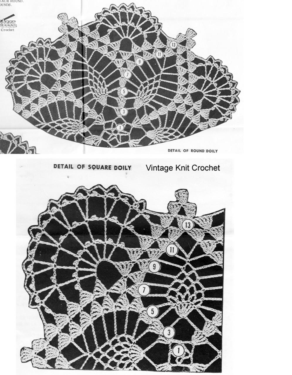 Round Square Crochet Doily Pattern Illustration, Laura Wheeler 742