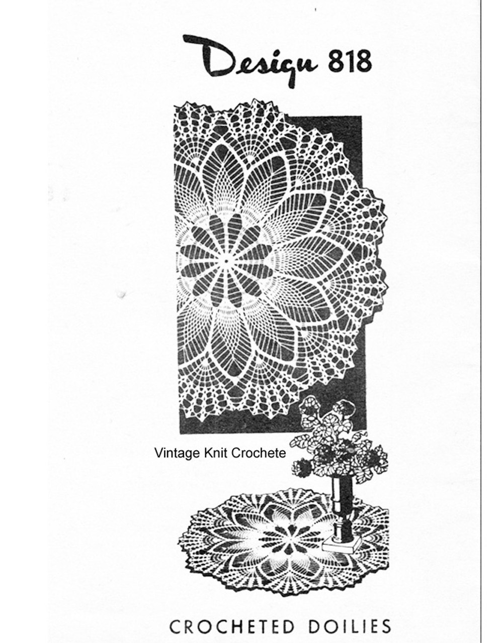 Pineapple Shell Crocheted Doilies Pattern, Mail Order 818