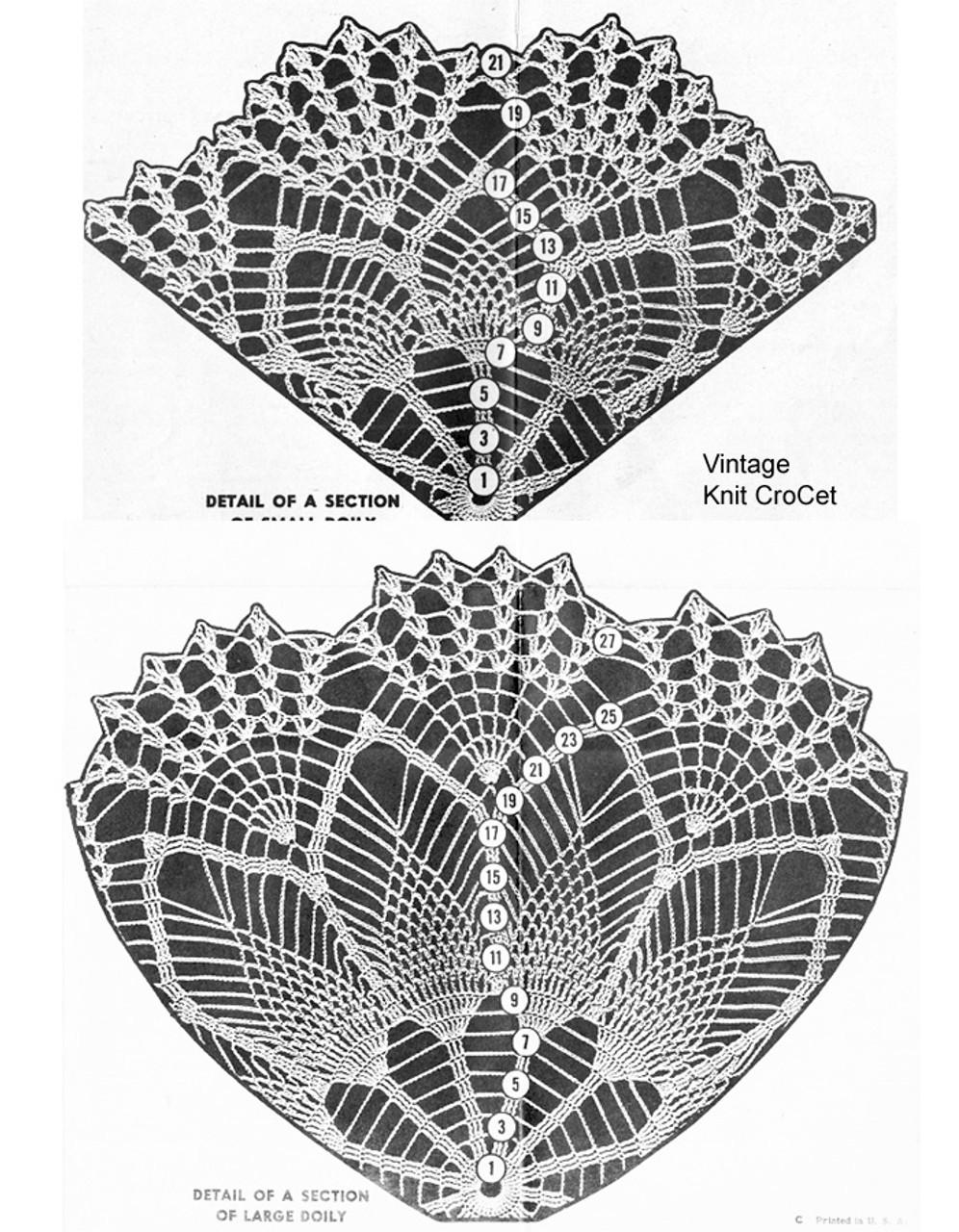 Pineapple Crochet Doily Pattern Stitch Detail, Mail Order 818