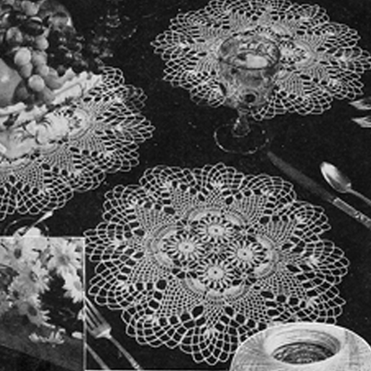 Crocheted Pineapple Place Mats Pattern