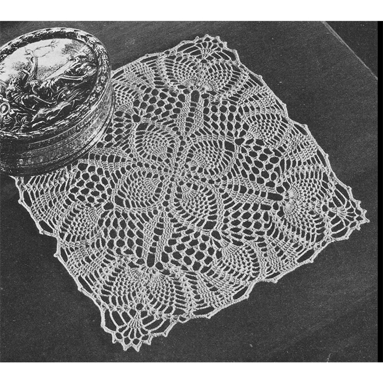 Square Pineapple Posies Crochet Doily Pattern