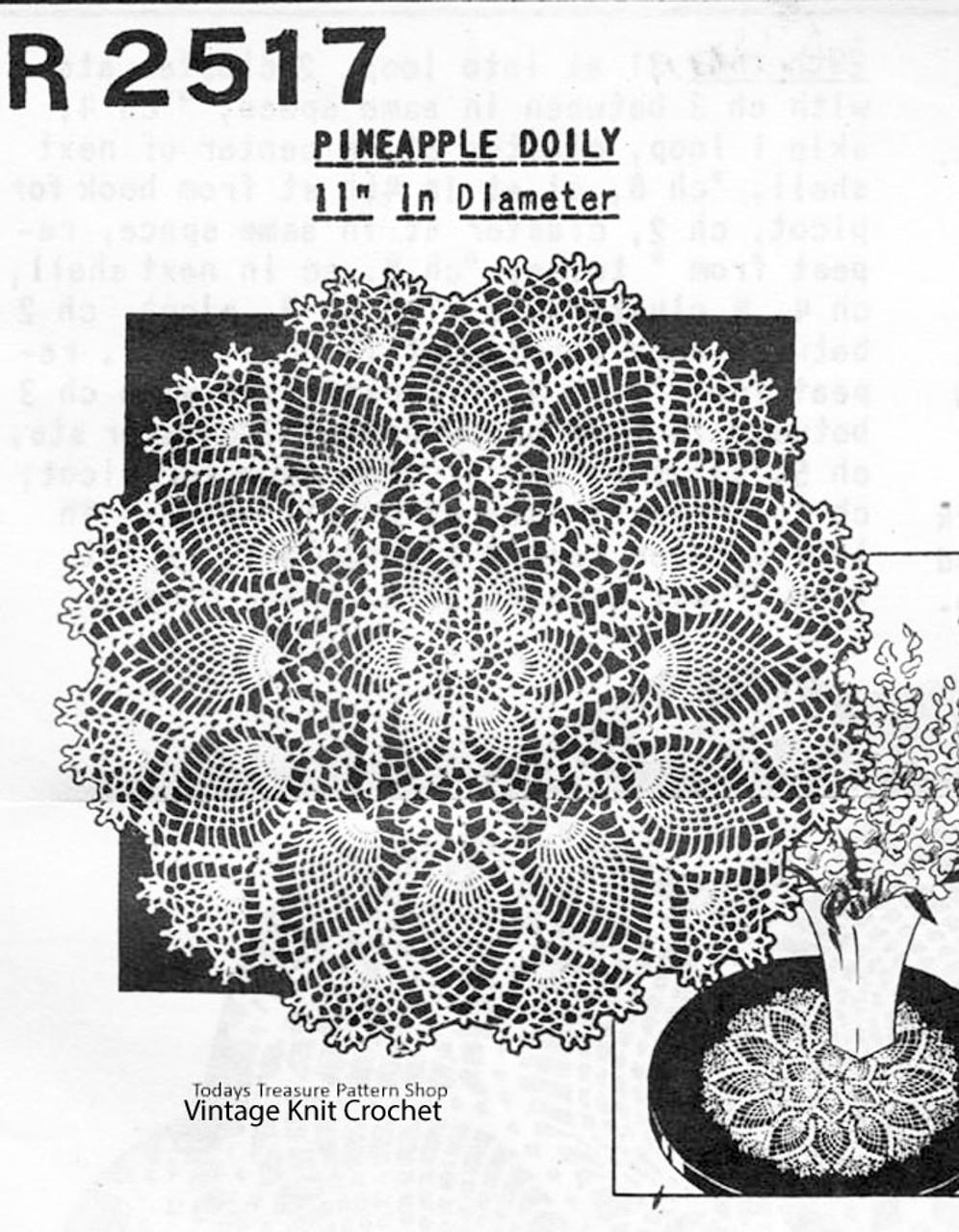 Medium Crochet Pineapple Doily pattern, Peggy Roberts R-2517