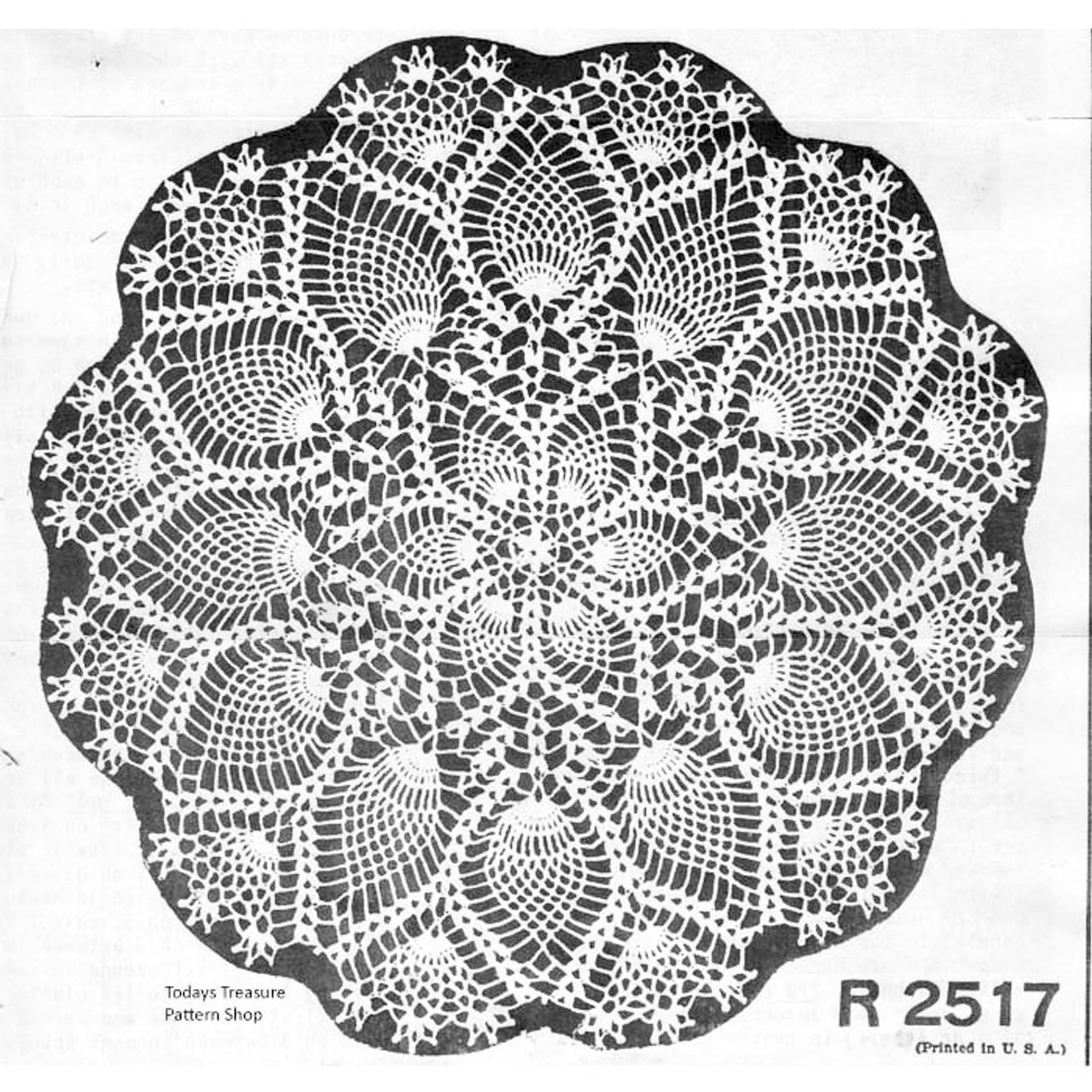 Vintage Pineapple Doily, Shell Border Pattern No R-2517