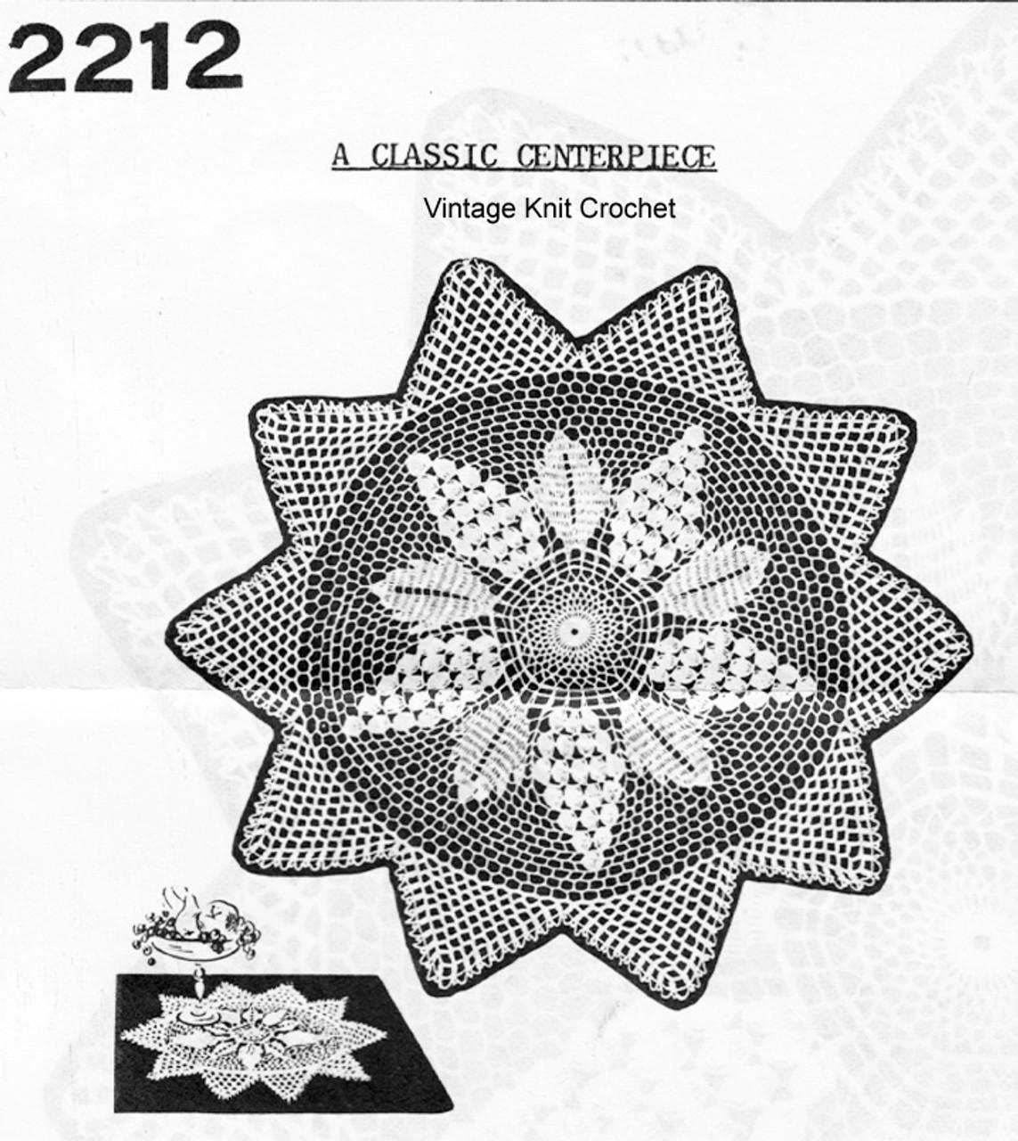 Crocheted Gape Doily pattern, Sun Motif, Mail Order 2212