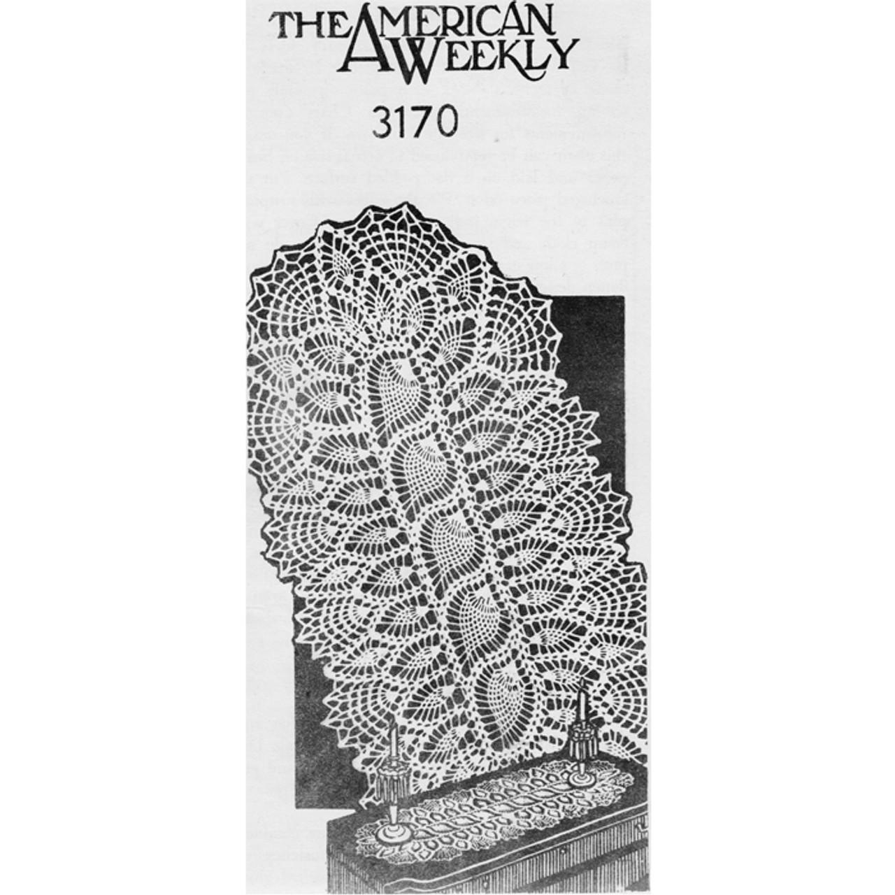 American Weekly 3170 Crochet Pineapple Runner Pattern