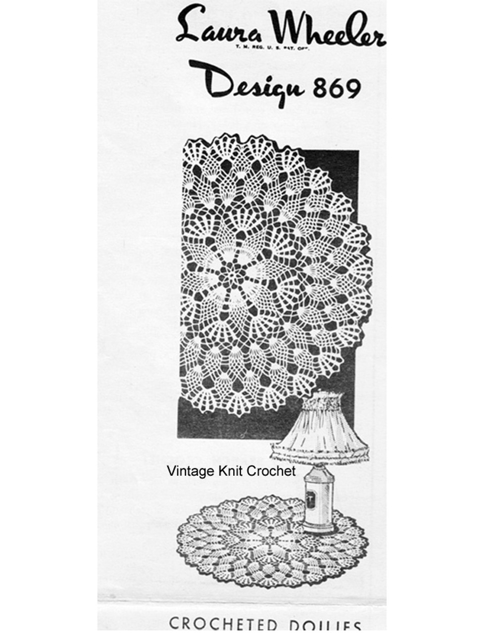 Crocheted Large Small Pineapple Doily Pattern, Laura Wheeler 869