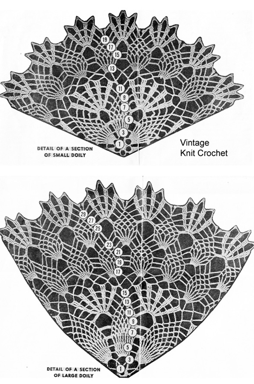 Crochet Doily Pattern Illustration, Pineapple Shell Stitch, Design 869